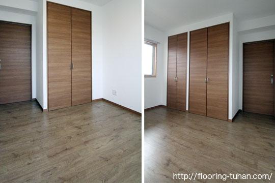 置くタイプのフローリング(デコクリックフローリング/PVC)を床材として使用していただきました