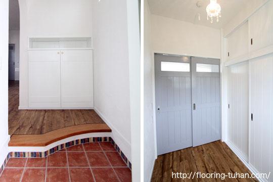 PVCフローリング(デコクリック)・クラシックヒッコリーカラーを玄関に使用