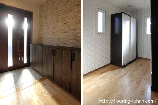 カバ桜の床材に自然の光が反射する、明るい玄関