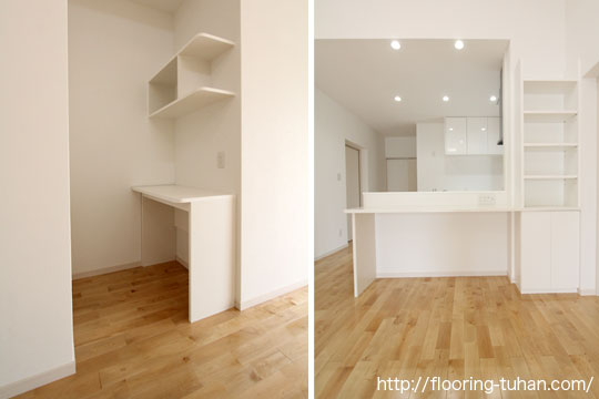 白床のカバ桜無垢フローリングを戸建て住宅の床材として採用(平屋)