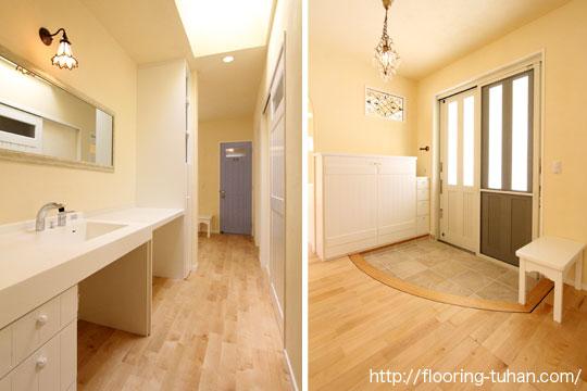 カバ桜材を白基調の戸建て住宅の床材として使用(自然塗装仕上げ、小節あり)
