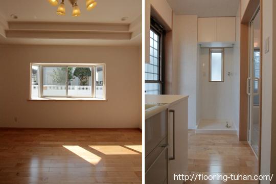 部屋・脱衣所に白床(カバ桜フローリング / カバ桜 / 無垢材)を使用して室内を明るく表現