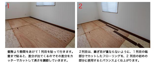 壁から隙間を開けて、順番にバランスよく床へ置いていく(貼って行く)