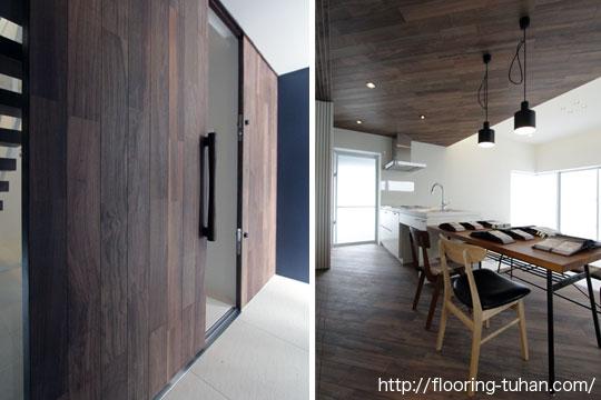 ドアや天井にもフローリング材を使用し、統一感あふれる空間に仕上げた戸建住宅(ロックファー/無垢床材/黒系統フローリング/黒床)