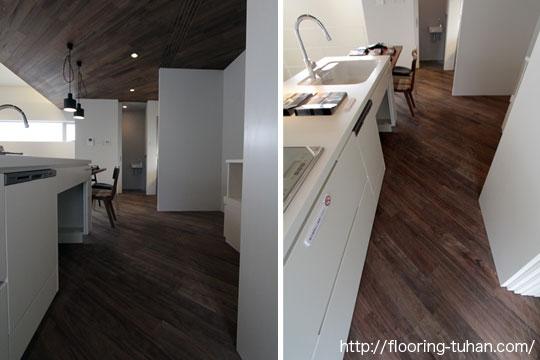 白と黒のコントラストでモダンな印象に仕上げたキッチン(ロックファー/無垢床材/黒系統フローリング/黒床)