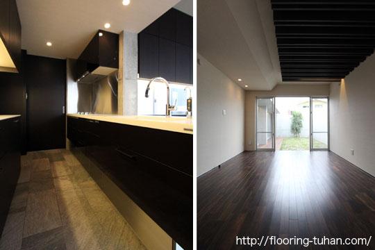 黒系統ベースなキッチン/部屋