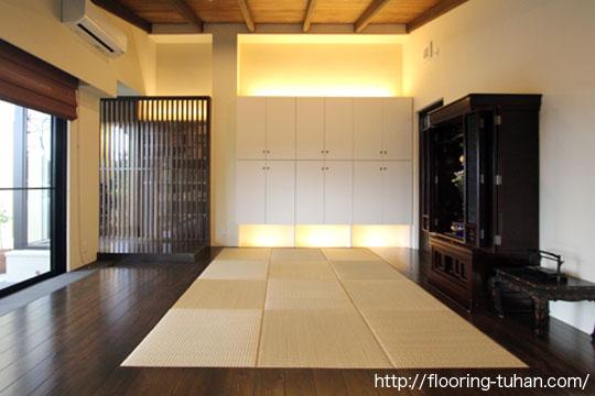 和室の雰囲気にも似合う杉無垢フローリング