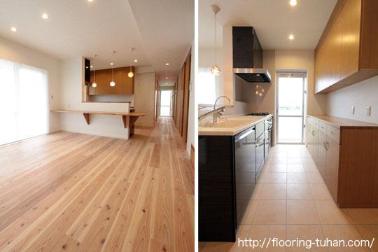 ダイニングキッチンの床材として無塗装品の杉フローリングを使用した住宅