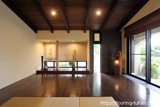 杉無垢フローリングを和室の床材として使用