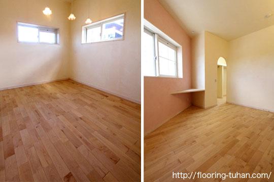 カバ桜材の無塗装品を使用して、施主様オリジナルの床に仕上げた戸建て住宅