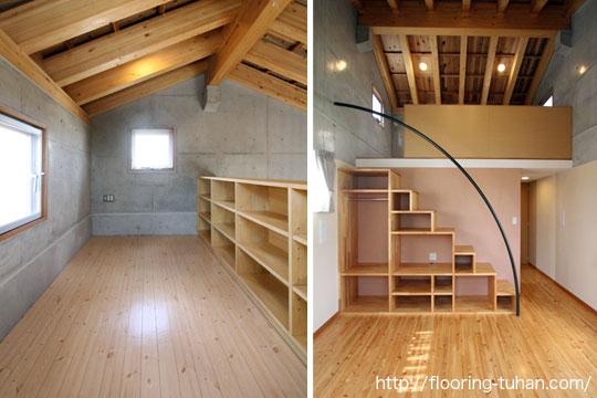 桧140巾集成3Pタイプ無塗装品・30mmを戸建て住宅の床材として採用