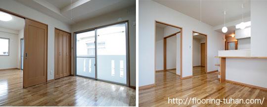 各部屋に白系統フローリングを使用した住宅兼アパート