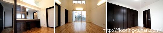 各部屋にナラ(オーク・楢)フローリングを使用し、全体的に明るい雰囲気に仕上げたお宅