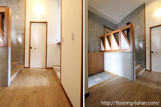 玄関部分にPVCフローリング(デコクリック)・ナチュラルティンバーカラーを使用していただいた2階建て住宅