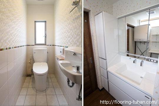 洗面台などの水周りにも、耐水性のあるチーク材を使用(戸建て住宅)