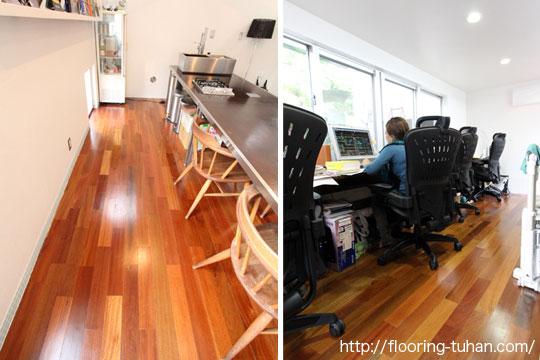 無垢フローリングを使用した、設計士事務所の床(無垢材/フローリング/バツ材/バンギライ)