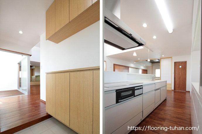 光がたくさん入る明るい玄関とキッチン