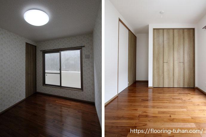 経年変化が魅力的な、チークフローリングを各部屋の床材として採用