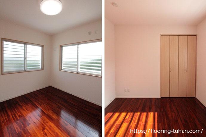 チーク材のブラウンカラーを各部屋の床材として、コストパフォーマンスに優れた集成タイプ(2P)を採用