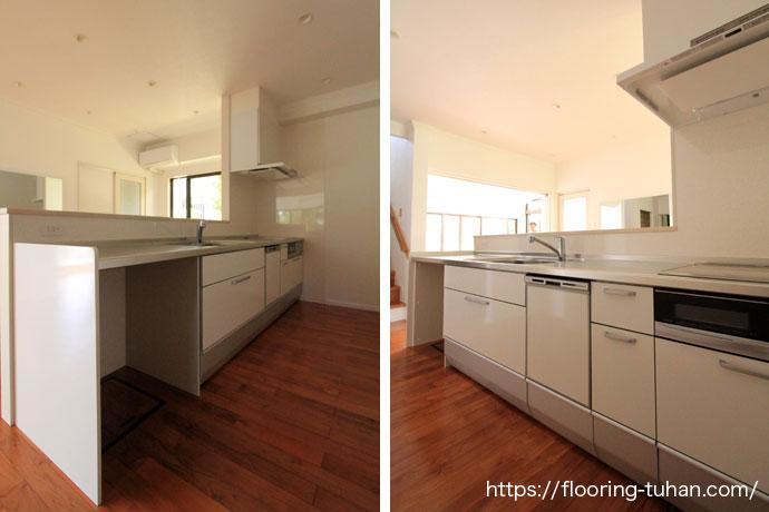 フロアー材からチーク無垢材へリフォーム(床/無垢床/フローリング/住宅リフォーム)