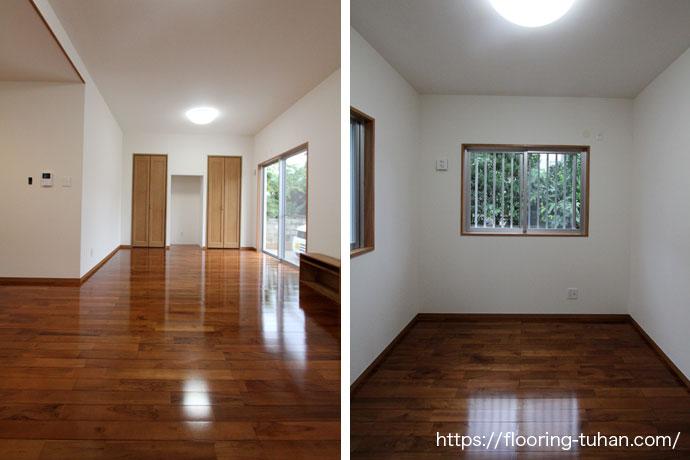 チーク無垢フローリング90巾ユニ塗装品をリビングや各部屋の床材とし採用