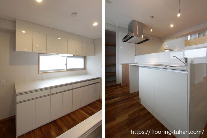 耐水性に強いチーク材を使用し、キッチンを白で統一
