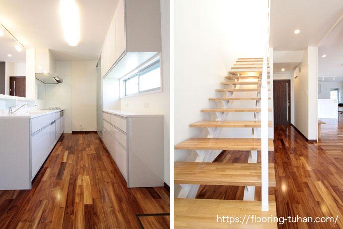 耐水耐久性にも強いチーク材を水を良く使用するキッチンと階段部分に使用