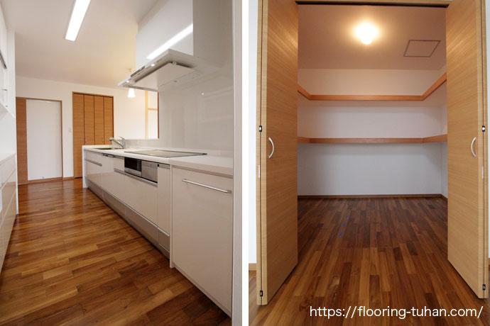広いクローゼットと白いキッチン