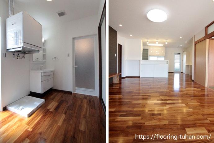 耐水性に強いチークフローリングを、水を良く使用する脱衣所の床材として使用