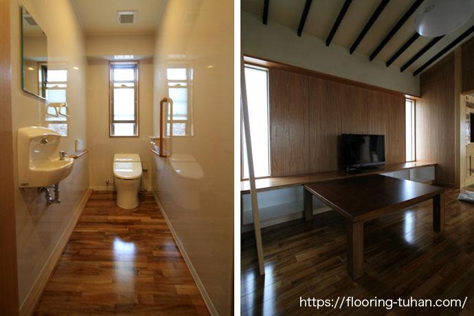 リビングダイニングにチークフローリングを採用した戸建て住宅