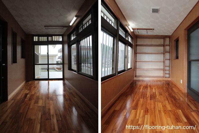 廊下や脱衣所に水や湿気に強い、チーク無垢フローリングを使用した戸建て住宅(チーク材/チークフローリング/フローリング)