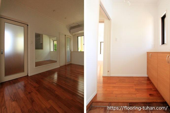 玄関と部屋の床材をフロアー材からチーク無垢材へリフォーム