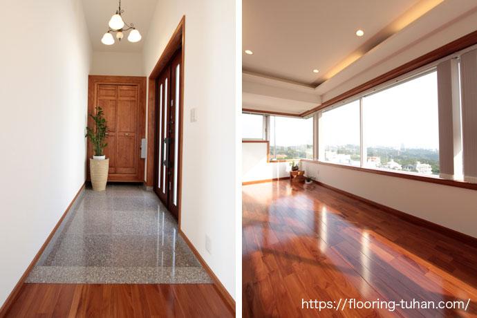 玄関&リビングダイニングにチーク無垢フローリングを使用した住宅(チーク材/フローリング/無垢材/ブラウンチーク)