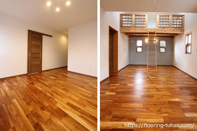 寝室の床材に、チーク無垢フローリングを使用した戸建て住宅