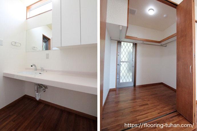耐久耐水性のあるチーク材を脱衣所や人の出入りの多いクローゼットの床材として使用