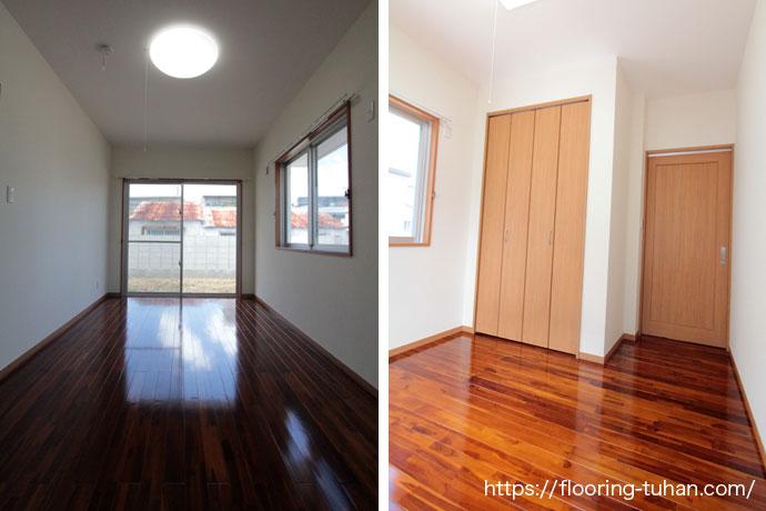 アンティーク風塗装仕上げのブランチーク無垢フローリングを各部屋の床へ使用(植林チークの若木に着色した無垢フローリング)