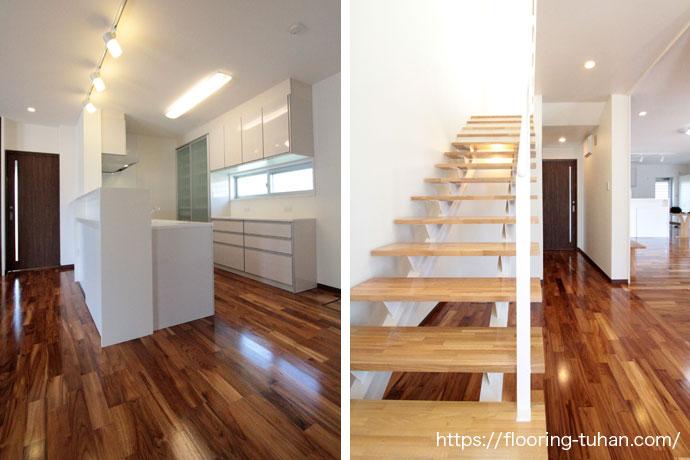 キッチン床や階段部分にもチークフローリングを使用