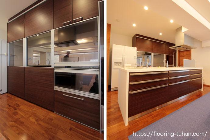 キッチンの床材としてチーク無垢フローリングを使用(チーク材/フローリング/無垢材/ブラウンチーク)
