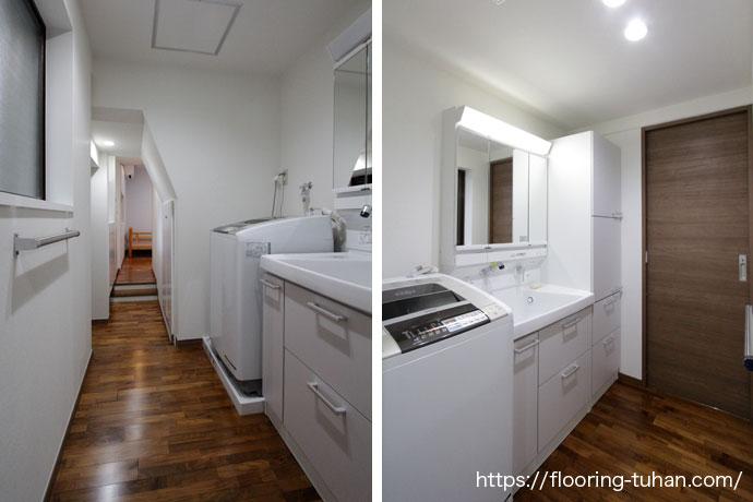 白で清潔な家具と合うフローリング(チーク無垢フローリング)
