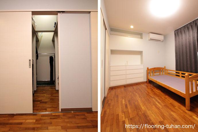 寝室と広々クローゼット(チーク無垢フローリング)