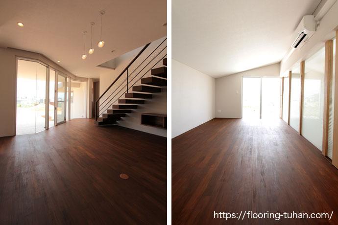 自然で柔らかな雰囲気のお部屋の無垢床(無塗装フローリング)