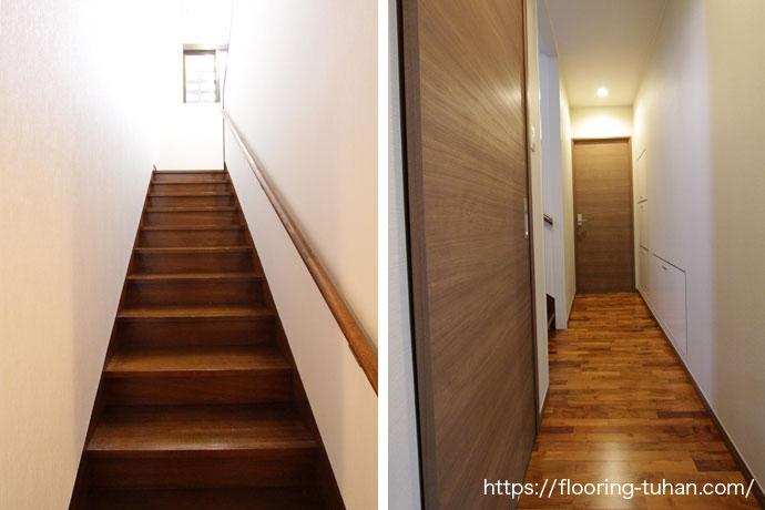 足ざわりの良い階段と廊下(チーク無垢フローリング)