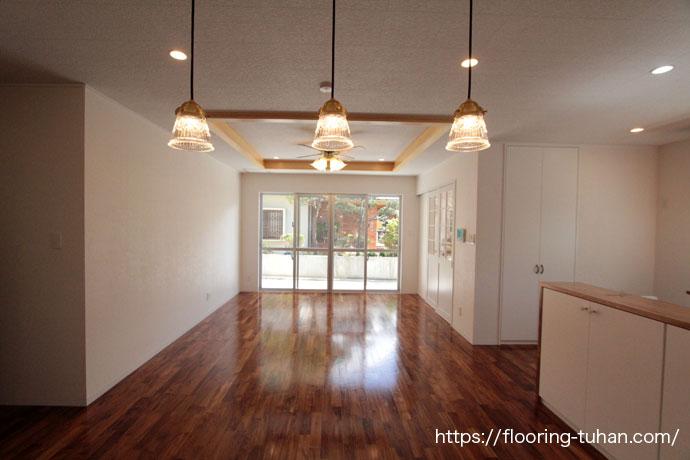 チークフローリングを戸建住宅に使用したお宅(床材/住宅リフォーム/無塗装品フローリング/新築住宅)
