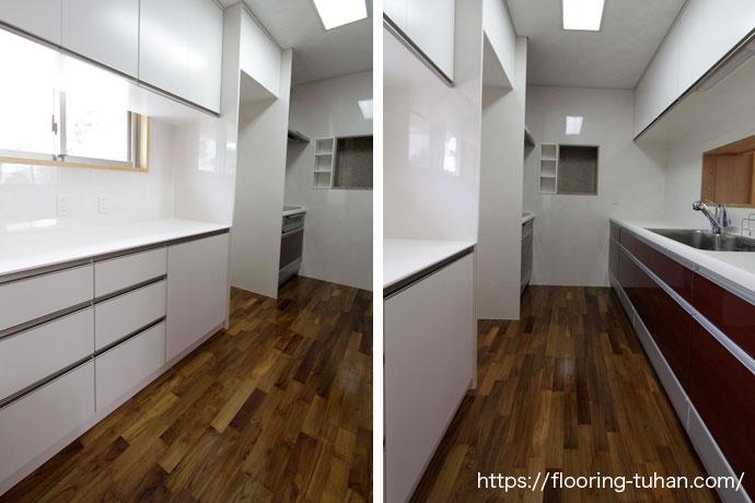 耐水性・耐久性に優れたチーク材を、キッチン周りに使用(チーク無垢フローリング/チーク材/無垢床材/フローリング材)