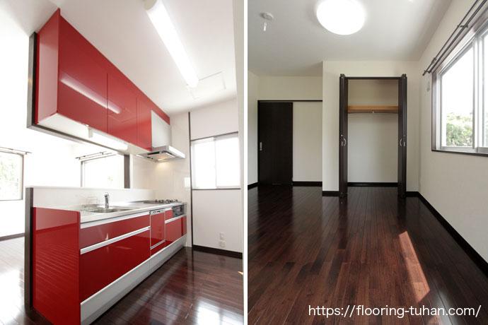 アジアンウォールナットの黒と赤が映えるキッチン