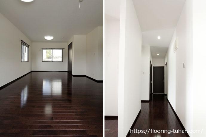 壁の白さを際立たせるアジアンウォールナットの床材