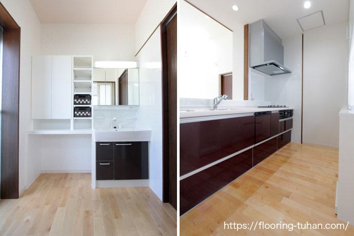 カバ桜無垢フローリングを使用して明るい洗面所とリビングが見渡せるキッチンに
