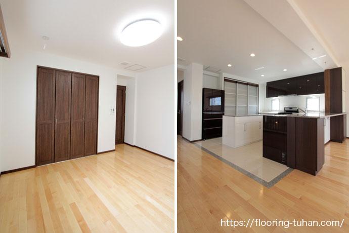 茶色がポイントになっているお部屋とキッチン
