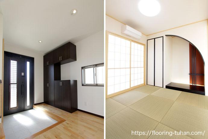 家の床にカバ桜材を使用した2世帯住宅(カバ桜/バーチフローリング/無垢床材/フローリングサンプル/無垢フローリング)