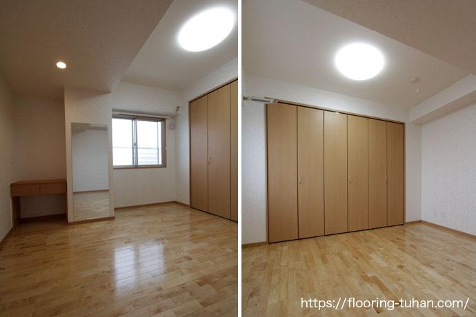 各部屋の床材をカバ桜フローリングで統一